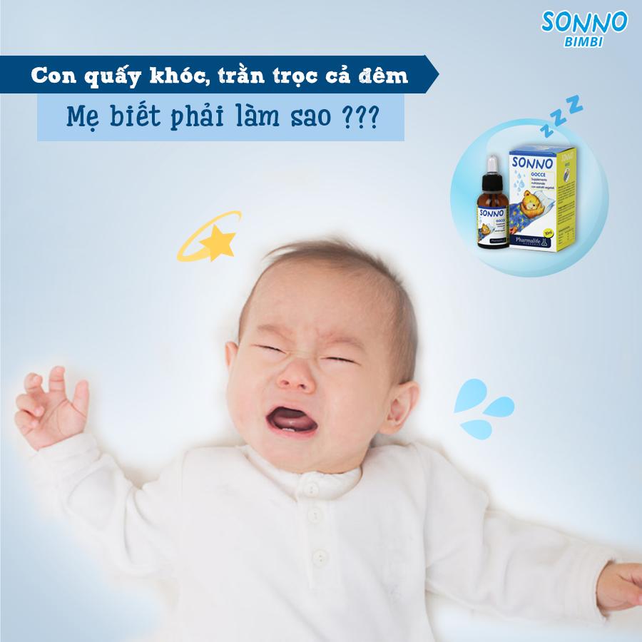 Mẹ còn băn khoăn gì mà không dùng ngay Sonno bimbi trị quấy khóc cho bé? 1